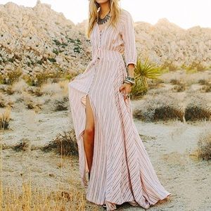 Dresses & Skirts - Striped V Neck Button-Up Maxi Dress